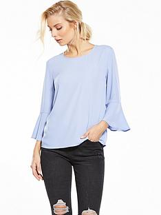 warehouse-plain-fluted-sleeve-top