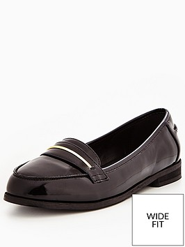 v-by-very-star-wide-fit-patent-gold-trim-loafer-black