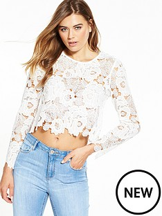 miss-selfridge-miss-selfridge-lace-crop-top