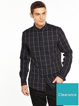 v-by-very-mens-long-sleeved-smart-check-shirt-navywhitenbsp
