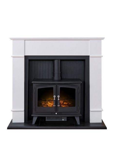 adam-fires-fireplaces-oxford-stove-suite-in-pure-white-with-woodhousenbspelectricnbspstove