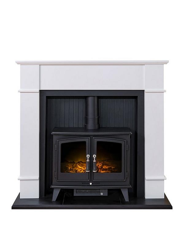 Adam Fires Fireplaces Oxford Stove Suite In Pure White With
