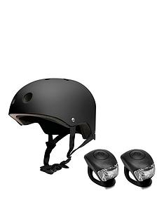 feral-helmet-58-62cm-black-with-urban-proof-silicone-bike-light-set