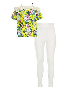 river-island-girls-yellow-tropical-lace-bardot-top-outfit