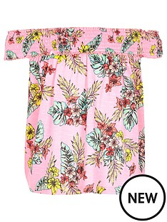 river-island-girls-pink-tropical-print-bardot-swing-top