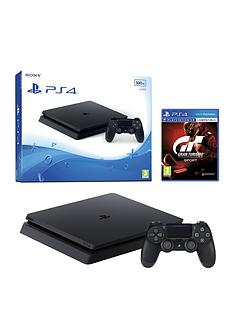 playstation-4-slim-500gb-black-console-with-gt-sport-365-psn-subscription-and-extra-dualshock-controller