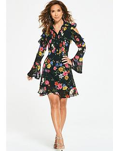 myleene-klass-ruffle-shoulder-tea-dress