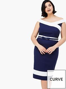 paper-dolls-curve-curve-panel-detail-off-shoulder-dress-with-navy-belt