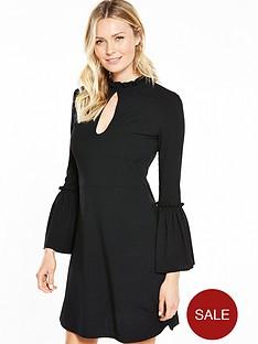 v-by-very-trumpet-sleeve-rib-skater-dress