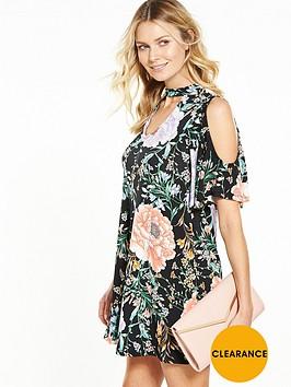 v-by-very-choker-fluted-sleeve-dress
