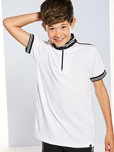 v-by-very-pique-high-collar-zip-front-polo-wht