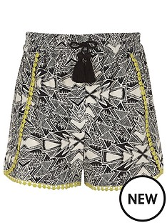 river-island-girls-black-aztec-print-crochet-trim-shorts