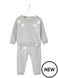 river-island-mini-mini-girls-grey-sweatshirt-and-joggers-set