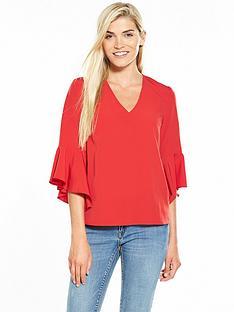 v-by-very-flute-sleeve-v-neck-blouse-red