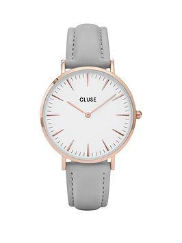 cluse-cluse-la-boheme-white-dial-rose-tone-case-grey-strap-watch
