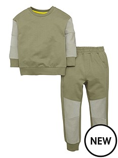 mini-v-by-very-boys-khaki-horizontal-ribbed-sweat-top-and-joggers-set-2-piece