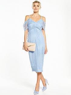 v-by-very-lace-cold-shoulder-frill-hem-dress