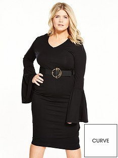 lost-ink-curve-curve-bell-sleeve-bodycon-dress