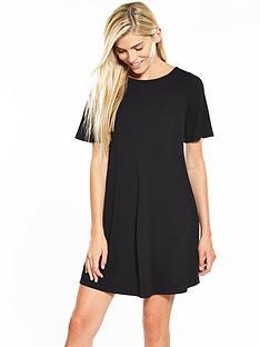 v-by-very-short-sleeve-swing-dress-black