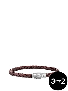 police-police-mens-brown-leather-weave-magnetic-bracelet