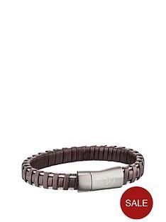 police-police-mens-brown-leather-weave-magnetic-bracelet