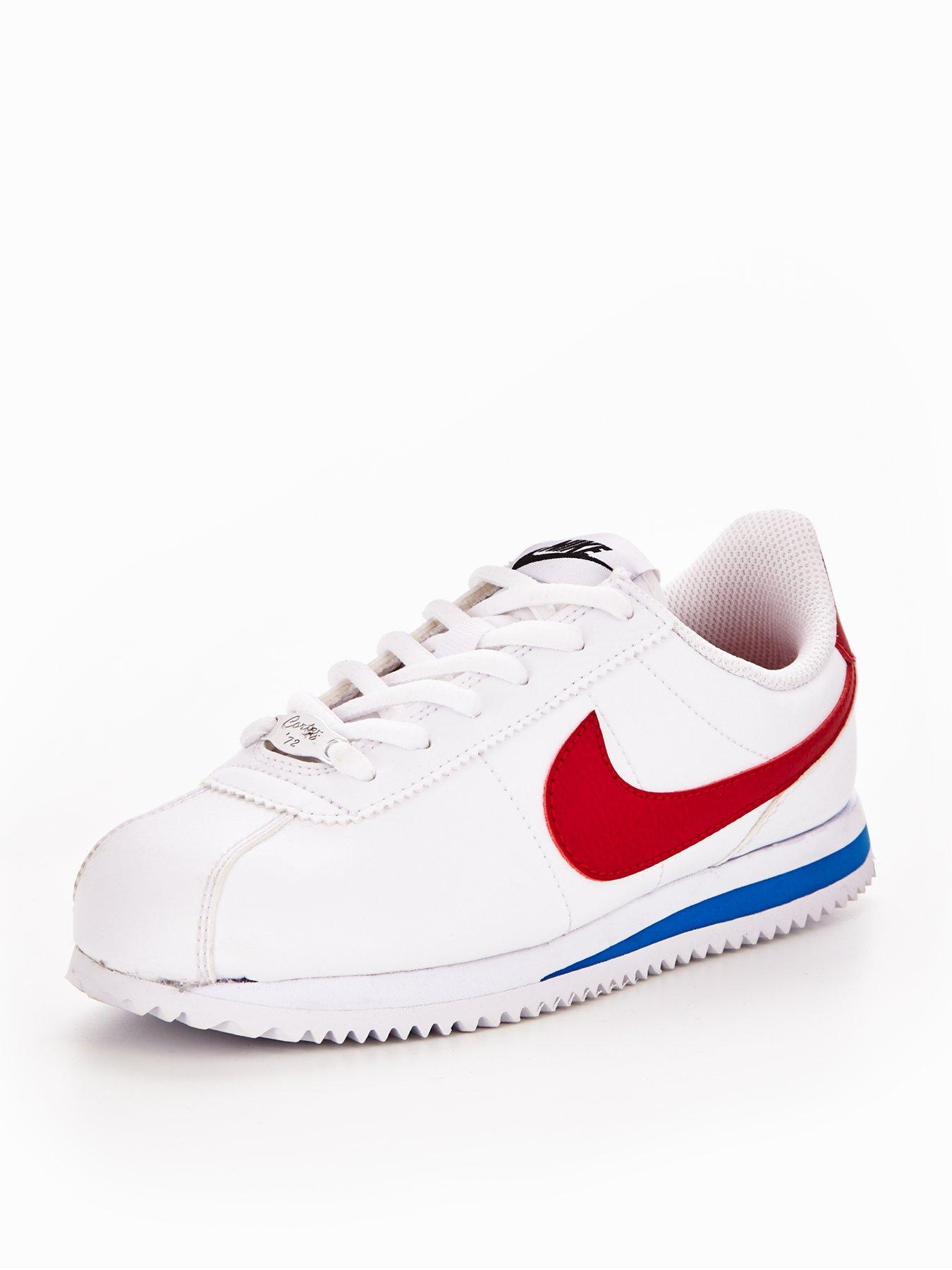 best website a244c ea1d0 new style nike cortez leather junior trainers white red blue 9a8a2 13c5b