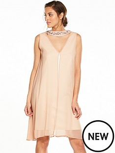 wallis-embellished-neck-over-layer-dress