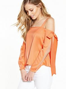 miss-selfridge-bow-detail-cold-shoulder-top-orange