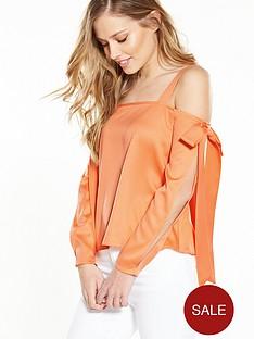 miss-selfridge-bow-detail-cold-shoulder-top-orange
