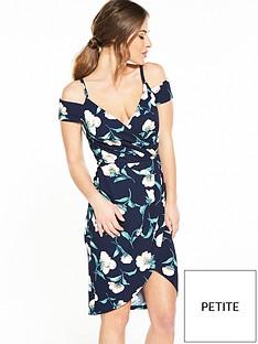 ax-paris-petite-cold-shoulder-wrap-dress