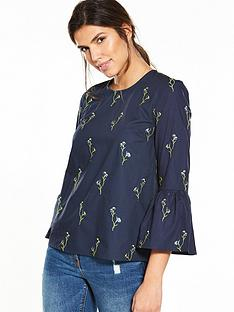 warehouse-iris-embriodered-top