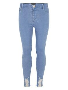 river-island-girls-mid-blue-wash-distressed-hem-jeggings