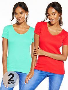 v-by-very-pack-of-2-v-neck-rib-t-shirts