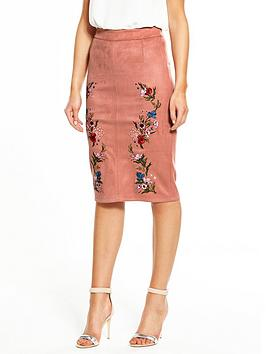 river-island-river-island-embroidered-suedette-pencil-skirt