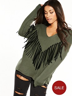 replay-fringed-jumper-olive