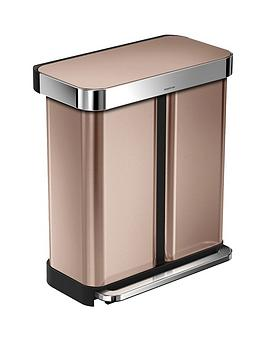 simplehuman-dual-compartment-58-litre-pedal-bin-ndash-rose-gold