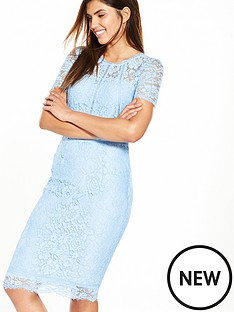 v-by-very-ladder-detail-short-sleeve-lace-dress