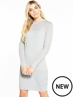 v-by-very-mesh-sleeve-and-yoke-detail-knitted-dress-grey