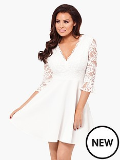 jessica-wright-tammy-lace-flute-sleeve-skater-dress