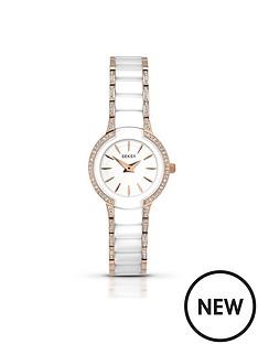 seksy-white-dial-rose-tone-detailing-bracelet-ladies-watch