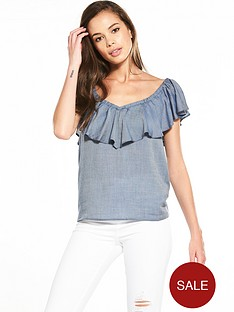 miss-selfridge-miss-selfridge-chambray-ruffle-bardot-top