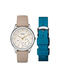 timex-timex-iq-cream-dial-bone-leather-strap-amp-intechangable-teal-silicone-strap-ladies-smart-watch
