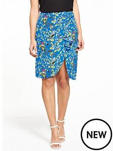 oasis-topaz-bird-ruffle-drape-skirt