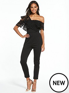 rare-black-one-shoulder-frill-fitted-jumpsuit