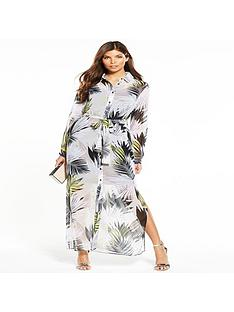 wallis-leaf-print-shirt-maxi-dress