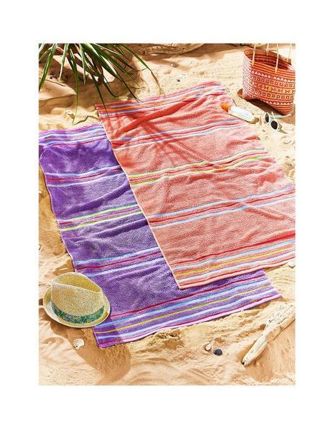 catherine-lansfield-rainbow-beach-towel-pair-coral-amp-purple
