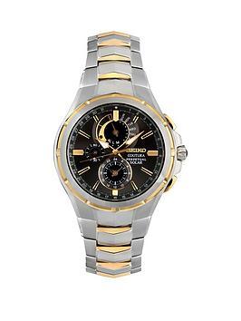 seiko-seiko-gents-black-dial-two-tone-perpetual-solar-chronograph-stainless-steel-bracelet-watch