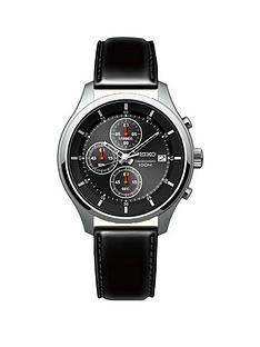 seiko-seiko-gents-black-dial-stainless-steel-chronograph-leather-strap-watch