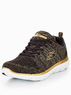skechers-flex-appeal-20-opening-night-lace-up-trainer-blackgold