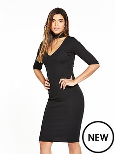 v-by-very-choker-rib-jersey-midi-dress-black